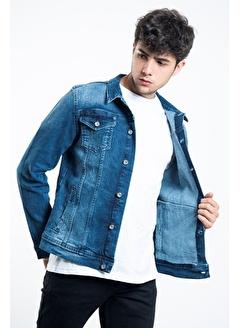 LTC Jeans Kar Yıkamalı Mavi Düğmeli Yıpratmalı Erkek Kot Ceket